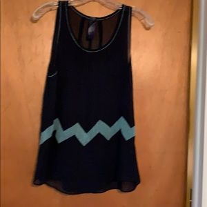 Navy with turquoise embroidery tank top